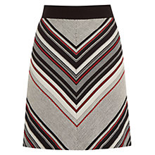 Buy Warehouse Striped Tweed Pelmet Skirt, Bright Red Online at johnlewis.com