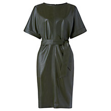 Buy Jigsaw Belted Leather Dress, Dark Green Online at johnlewis.com