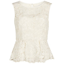 Buy Gina Bacconi Fine Cornelli Floral Net Peplum Top, Ivory Online at johnlewis.com