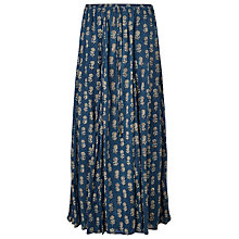 Buy East Anisha Print Crinkle Skirt, Indigo Online at johnlewis.com