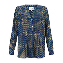 Buy East Anisha Print Pintuck Blouse, Indigo Online at johnlewis.com