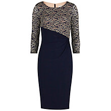 Buy Gina Bacconi Lace Bodice And Sleeves Jersey Dress, Navy Online at johnlewis.com