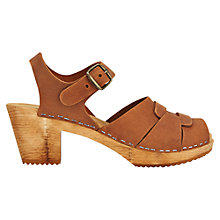 Buy Jigsaw Moheda Block Heeled Clog Sandals, Tan Online at johnlewis.com