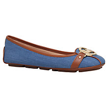 Buy MICHAEL Michael Kors Fulton Moc Flat Pumps, Denim Online at johnlewis.com