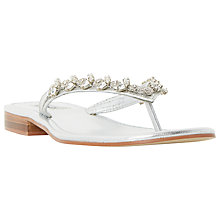 Buy Dune Niki Embellished Flip Flops, Silver Leather Online at johnlewis.com