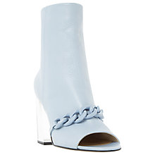 Buy Dune Octavia Peep Toe Block Heeled Boots,  Pale Blue Leather Online at johnlewis.com