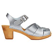 Buy Jigsaw Moheda Block Heeled Clog Sandals, Silver Online at johnlewis.com