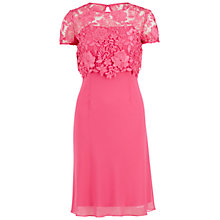 Buy Gina Bacconi Bias Cut Chiffon Dress With Guipure Lace Overtop, Pink Online at johnlewis.com