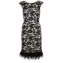 Buy Gina Bacconi Lace Dress With Feathered Trim, Black/White Online at johnlewis.com