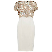 Buy Gina Bacconi Detachable Bouquet Guipure Lace Overtop And Dress, Cookies Cream Online at johnlewis.com