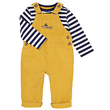 Buy John Lewis Baby Corduroy Dungaree And T-Shirt Set, Yellow/Blue Online at johnlewis.com