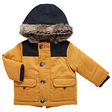 Buy John Lewis Baby Faux Fur Trim Coat, Yellow/Navy Online at johnlewis.com