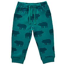 Buy John Lewis Baby Bear Print Jersey Joggers, Teal Online at johnlewis.com