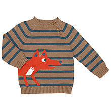 Buy John Lewis Baby Pie Crust Fox Jumper, Brown/Multi Online at johnlewis.com