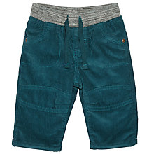 Buy John Lewis Baby Rib Waist Corduroy Trousers, Teal Online at johnlewis.com