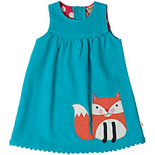 Buy Frugi Organic Baby Corduroy Fox Dress, Aqua Online at johnlewis.com