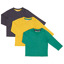 Buy John Lewis Baby Plain Long Sleeved T-Shirts, Pack of 3, Assorted Online at johnlewis.com