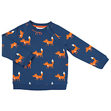 Buy John Lewis Baby Fox Print Jumper, Navy Online at johnlewis.com