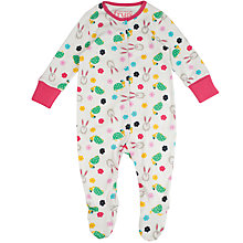 Buy Frugi Organic Baby Bunny Playsuit, Cream Online at johnlewis.com