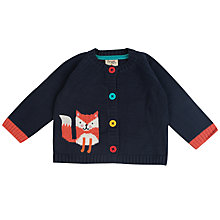 Buy Frugi Organic Baby Intarsia Fox Cardigan, Navy Online at johnlewis.com