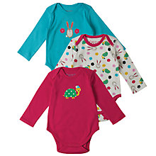 Buy Frugi Organic Baby Bunny And Tortoise Bodysuits, Pack of 3, Multi Online at johnlewis.com