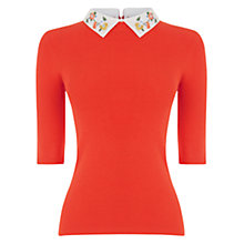 Buy Oasis Embroidered Rib Collar Jumper Online at johnlewis.com