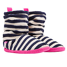 Buy Joules Fluffy Stripe Print Slipper Socks, Navy/Cream Online at johnlewis.com