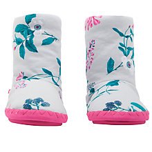 Buy Joules Fluffy Floral Print Slipper Socks, Cream/Multi Online at johnlewis.com