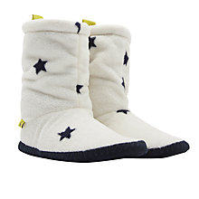 Buy Joules Fluffy Star Print Slipper Socks, Cream/Navy Online at johnlewis.com