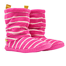Buy Joules Fluffy Stripe Print Slipper Socks, Candy Pink/Cream Online at johnlewis.com