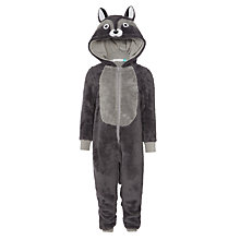 Buy John Lewis Boys' Wolf Fleece Onesie, Grey Online at johnlewis.com
