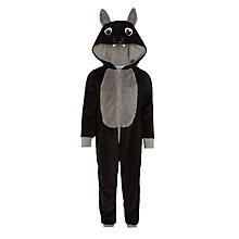 Buy John Lewis Boys' Bat Fleece Onesie, Black Online at johnlewis.com