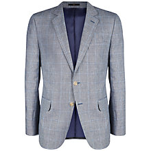 Buy Jaeger Windowpane Check Linen Blend Slim Fit Suit Jacket, Air Grey Online at johnlewis.com