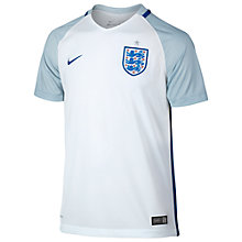 Buy Nike England Home Stadium Kids' Football Shirt, White/Blue-Grey Online at johnlewis.com