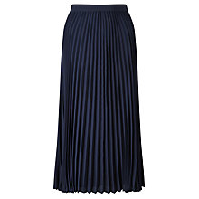 Buy John Lewis Pleated A-Line Skirt, Navy Online at johnlewis.com
