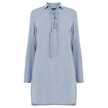 Buy Warehouse Lace Up Tunic Dress, Light Blue Online at johnlewis.com