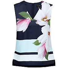 Buy Ted Baker Magnolia Stripe V-Neck Top, Navy Online at johnlewis.com