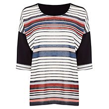 Buy Warehouse Stripe Pleat Detail Top, Multi Online at johnlewis.com