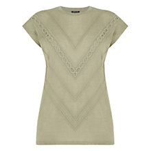 Buy Warehouse Linen Look Trim Detail Top, Khaki Online at johnlewis.com