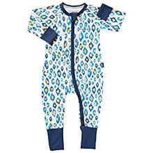 Buy Bonds Baby Zip Wondersuit Animal Print Sleepsuit, Blue/White Online at johnlewis.com