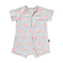 Buy Bonds Baby Zip Wondersuit Polka Dot Short Romper, Grey/Pink Online at johnlewis.com