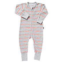 Buy Bonds Baby Zip Wondersuit Stripe Print Sleepsuit, Grey/Orange Online at johnlewis.com