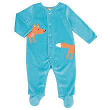 Buy John Lewis Baby Fox Velour Sleepsuit, Teal Online at johnlewis.com
