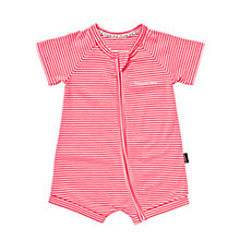 Buy Bonds Baby Zip Wondersuit Stripe Print Short Romper, Pink/White Online at johnlewis.com