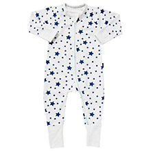 Buy Bonds Baby Zip Wondersuit Star Print Sleepsuit, White/Navy Online at johnlewis.com