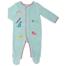 Buy John Lewis Baby Dog Stripe Sleepsuit, Green Online at johnlewis.com