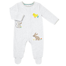 Buy John Lewis Baby Velour Striped Animal Sleepsuit, Grey/White Online at johnlewis.com