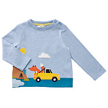 Buy John Lewis Baby Striped Fox Mountain T-Shirt, Blue Online at johnlewis.com