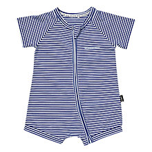 Buy Bonds Baby Zip Wondersuit Stripe Print Short Romper, Navy/White Online at johnlewis.com