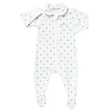 Buy Bonds Baby Zip Wondersuit Collar Newbies Sleepsuit, White/Aqua Online at johnlewis.com